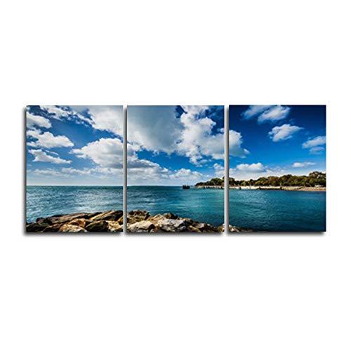 N / A 3 Panel Blue Sky Meer Landschaft Fotoalbum Poster Familie Wohnzimmer Schlafzimmer Dekoration Ölgemälde Retro Kunst Rahmenlos 20cmx25cm