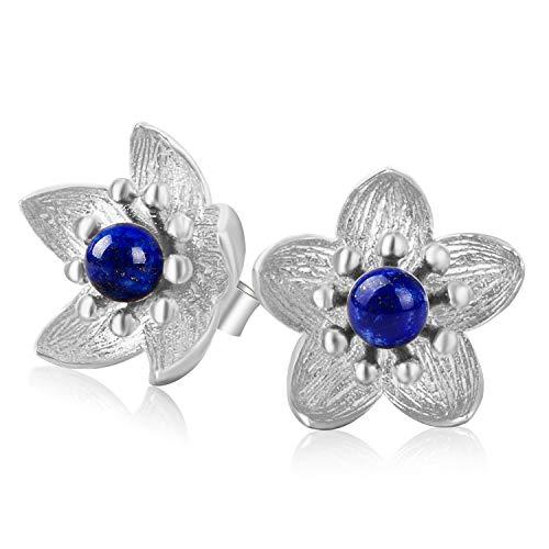 Lotus Fun S925 Pendientes de plata de ley fresca flor Pendientes creativo natural hecho a mano joyas ¨²nicas para mujeres y ni?as
