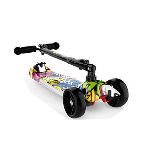 DDPD Kinderroller // Kinder 3 // Rad Kickscooter mit klappbarem Lenker und LED Beleuchtung Rad Kinder Jungen und...