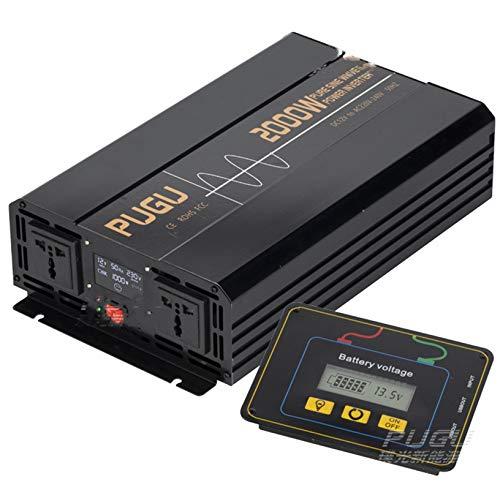 WOCTP Inversor de Onda sinusoidal Puro de 2000W, convertidor de Potencia de Coche DC 12 a AC 220, inversor con Pantalla LCD y 1 Adaptador de automóviles de Puertos USB INT 12V-220V