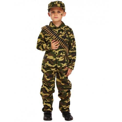 Fancy Me garçons pour Enfants Militaire Camouflage Soldat Uniforme Costume déguisement - Vert, 7-9 Years
