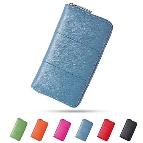 Damen Leder Geldbörse, Brenice RFID Rindleder Reißverschluss Lange Brieftaschen Große Kapazität 11 Kartenhalter Geldbörse für Frauen Blau