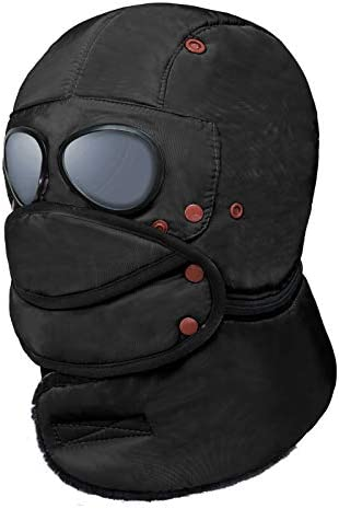 Black Pilot Hat Aviator Cap Winter Beanie Hat with Earmuff for Teens and Adults product image