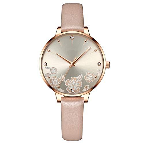 YQCH Reloj Casual de Cuero de Las Mujeres Lujo analógico de Lujo Reloj de Pulsera de Cristal Moda Casual Mujer Reloj de Pulsera de Lujo (Color : E)