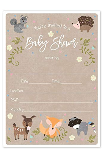 Woodland Animals Baby Shower Invitation / 25 Adordable Animals Themed Fill in The Blank Baby Shower Invites