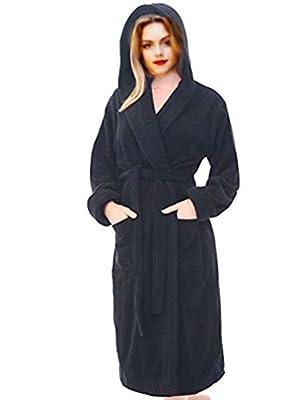 ELEGANI Women's Robe Turkish Cotton Hooded-Terry-Bathrobe.