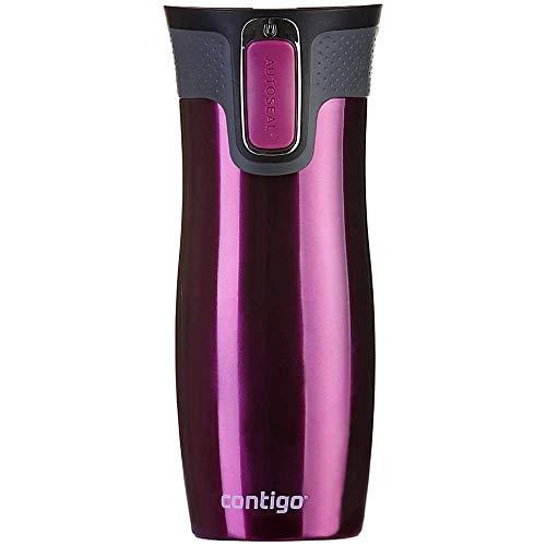 Contigo Thermobecher West Loop Autoseal, Edelstahl Isolierbecher, Reisebecher, Kaffebecher To Go, auslaufsicher, 100% dicht, hält bis zu 5h heiß/12h kalt, 470 ml, BPA frei, Raspberry