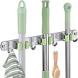 mooing portascopa e portaspazzole da muro attrezzi in acciaio inossidabil,3 posti e 4 ganci supporto per scopa per cucina, bagno, garage, giardino,robusto salvaspazio(verde)