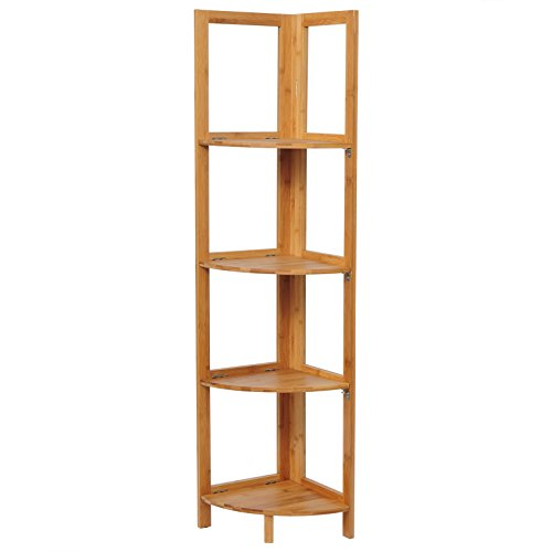 eSituro Estantería de Baño Bambú Estante esquinera de pie para Cocina Salón Librería Soporte de Plantas con 4 Niveles 27 x 38 x 120 cm SBSS0006