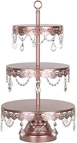 Amalfi Decor 3 Tier Dessert Cupcake Stand, Round Metal Pedestal Tray with Crystals, Rose Gold