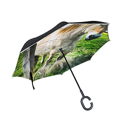 FANTAZIO Umgekehrter Regenschirm Pferd innen Zaun doppellagig UV-Schutz umgekehrter Regenschirm selbststehender C-förmiger Griff innen nach außen klappt/entfaltet winddicht und wasserabweisend