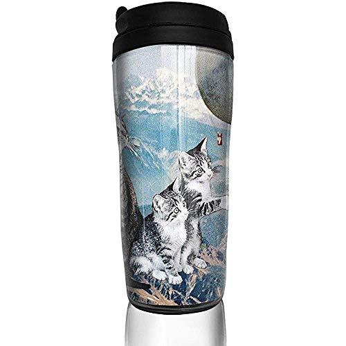Yuanmeiju Gato atrapando globo caliente nieve montaña botella de agua tazas de viaje taza de café vaso reutilizable taza de viaje al aire libre