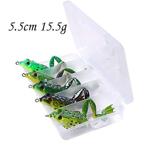FJJ-DIAOYU, 5pcs Pesca Pike-Fischen-Köder Künstlicher Köder 15.5g 55mm Ente Köder Gummiköder Fischen Wobbler Frosch-Köder Box Kit (Farbe : FO0155B)