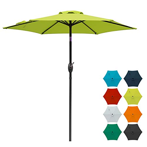 SUNVIVI OUTDOOR 7.5 Ft Patio Umbrella Outdoor Market Table Umbrella with Crank, 6 Ribs, Polyester Canopy,Lime Green