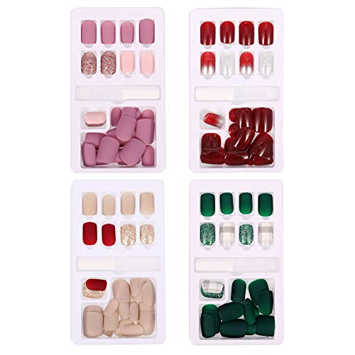 hugttt 120 Pieces Fake Nails Matte Short Fingernails False Nails Tips Full Cover Artificial Nails...