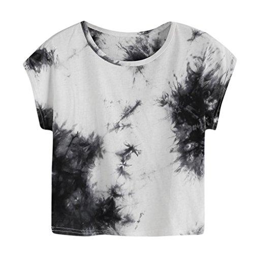 TUDUZ Damen Elegant Tie Dye Kurzarm Beiläufige Loose Fit T-Shirt Crop Tops Bluse