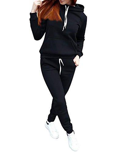 ShallGood Azteken Muster Damen Jumpsuit Overall Jogging Training Anzug Einteiler Schwarz DE 42