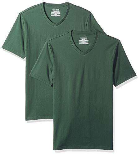 Amazon Essentials - Confezione da 2 magliette da uomo con scollo a V, slim fit, Verde (Dark Green Dar), US M (EU M)