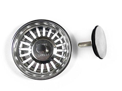 Zweiteiliger Siebkorb Ø 83 mm chrom Excenter 3 ½ für ältere Franke Spülen/Ersatzteil/Excenterbedienung/Siebkörbchen