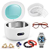 PREUP Jewellery Cleaner, Ultrasonic Cleaner Ultra Sonic Bath with Cleaning Basket - Stainless Steel Tank & Digital Timer for Jewelry Pendant Glasses Watch Metal Coins Denture