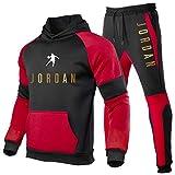 Jordan Trainingsanzug für Herren, Hoodie und Jogginghose, modischer Kapuzenpullover, 2-teiliger Jogginganzug, Bulls #23 Jordan, Herren-Übergröße, Logo Gr. L, 10