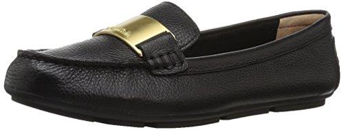 Calvin Klein Women's Lisette Loafer Flat, Black Tumbled Leather, 6