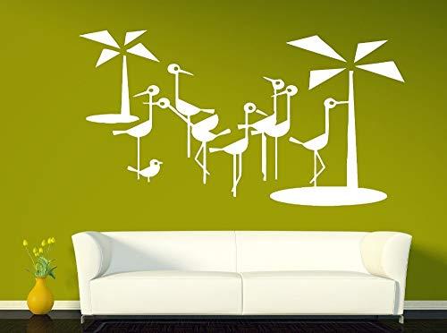 zhuziji Kolibri Wandaufkleber Vinyl DIY Selbstklebende Blume Strauß Flamingo Palme Sofa Hintergrund Wanddekoration Home Design117x63cm