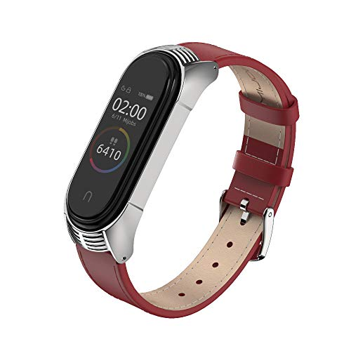 MIJOBS Compatible Xiaomi Mi Band 4, Genuine Leather Replacement Strap Breathable Wristband with Metal Frame Bracelet Accessories for Xiaomi Mi Band 3 Smart Watch Bracelet Wristband (Red+Silver)