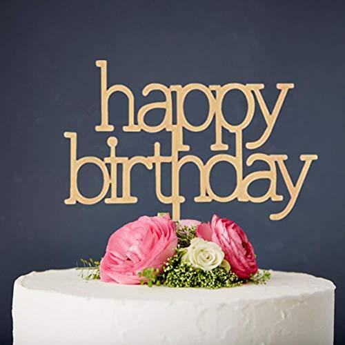 Gemengde Stijl Hout Gelukkige Verjaardag Cake Topper voor Verjaardag Party Decoratie benodigdheden Spiegel Goud Cake Topper Cake Decoreren
