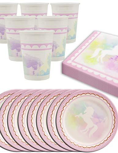 HomeTools.eu - Juego de vajilla de fiesta de unicornio Butterfly, para 8 personas, vasos, platos de cartón, servilletas, 36 piezas.