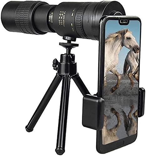 Telescopio monocular, telescopio con Zoom súper telefoto HD 10 x 100, telescopio monocular Resistente al Agua con trípode Adaptador para teléfono Inteligente, observación de Aves, Camping