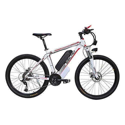 Vélo électrique 26 Pouces, VTT Homme Femme 21 Vitesses Shimano, Double Frein à Disque Mountainbike Vélo Tout-Terrain Moteur 350 W avec Batterie au Lithium 48V