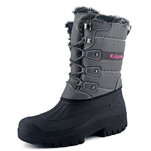 Knixmax Botas de Nieve para Mujer, Zapatos de Invierno Forro de Piel Cálidas Calientes y Impermeables Antideslizante, para Senderismo, Trekking, Caminar, Trabajo, Casuales, Aire Libre, Gris EU 42