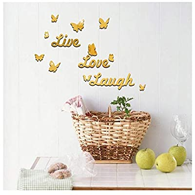 Wociaosmd Live Laugh Love Removable Wall Art Stickers Mirror Decal DIY Room Decals Home Decor (Gold)