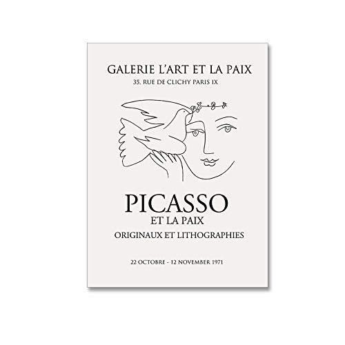 Vintage Frau & Taube Picasso Poster Kunstdruckt minimalistische Wand Bilder abstrakte Leinwand Malerei Moderne Wohnzimmer Bilder Dekor 40X60cm ohne gerahmt