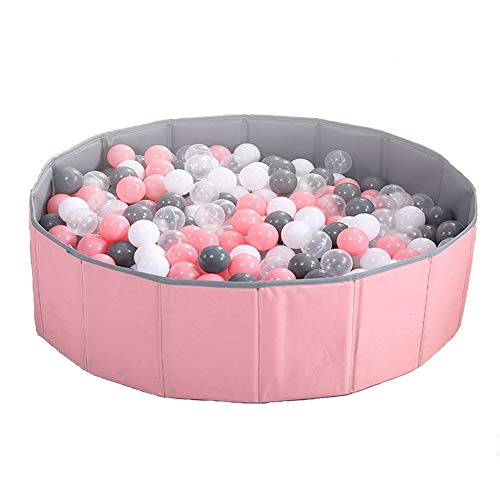 Moonvvin Kids Ballspielbecken Grube Faltbar Kinder Ocean Ball Pool Spielen Double Layer Oxford Cloth Bällebad Indoor und Outdoor (Rosa + Grau)