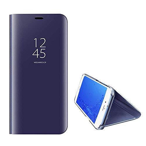 Yobby Luxe Coque Miroir pour Samsung Galaxy S8 Plus,Coque Samsung Galaxy S8 Plus Placage La Technologie Intelligent Vue Fenêtre Supporter PC Flip Cover Svelte Protecteur Housse Etui-Violet