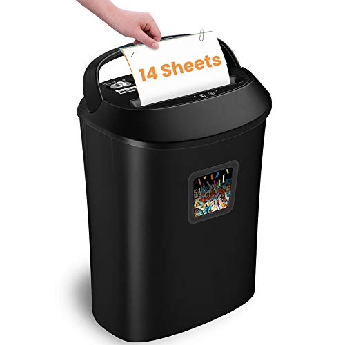 Paper Shredder,VidaTeco 14-Sheet Cross-Cut Shredder with US Patented Cutter,Also Shreds Card/CD,Heavy Duty Paper Shredder for Home Office,Durable&Fast with Jam Proof System,6.6-Gallon Basket (ETL)