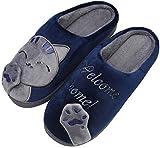 Mishansha Mujer Zapatillas de Casa Hombre Zapatillas de Estar de Invierno Cálido Felpa Dibujos Animados Gato Antideslizante Pantuflas, Cat-Azul, 41/42 EU=42/43 CN