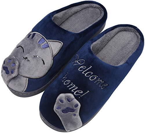 Mishansha Pantofole Donna Inverno Caldo Peluche Cartoon Pantofole da Casa Morbido Indoor Slippers Antiscivolo Coppie Scarpe, Cat-Blu, 39/40 EU=40/41 CN
