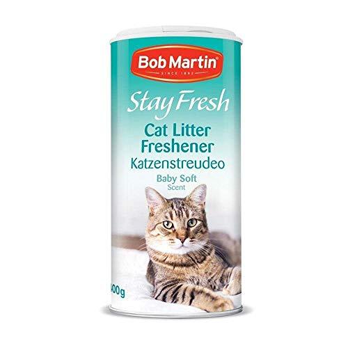 4 x Bob Martin Stay Fresh Cat Litter Freshener Baby Soft Powder Scent 400g