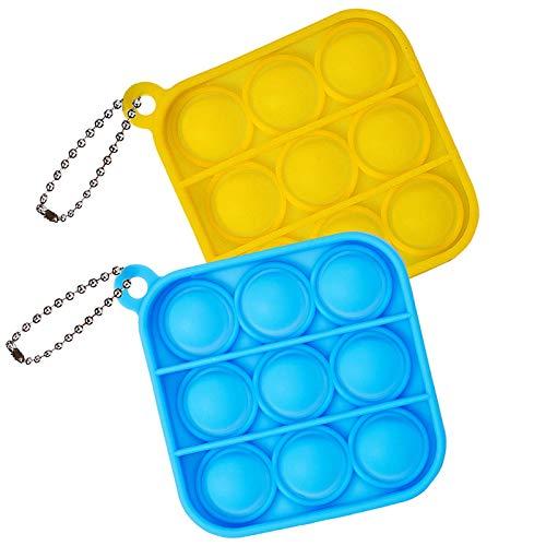 ZNNCO Push Pop Bubble Fidget Sensory Toy,Mini Tie Dye Pop Keychain to Relieve Emotional Stress for Autism Kids Adults (Yellow+Blue Square)
