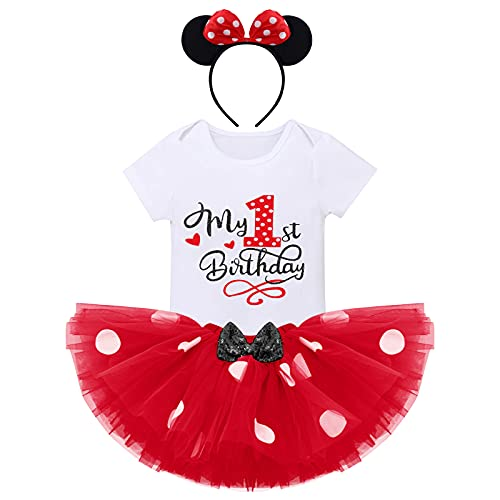 FYMNSI Conjunto de ropa de 3 piezas para bebé, de algodón, de manga corta, con tutú de lunares y diadema.