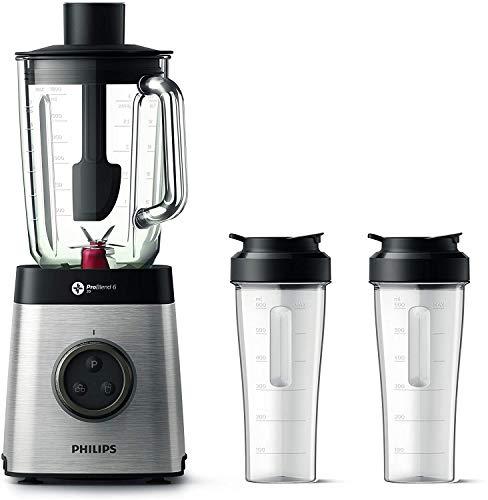 Philips HR3655/00, Frullatore ad Altà Velocità con Tecnologia ProBlend 6 3D e 35.000 Giri al Minuto, 2 Bicchieri in Tritan Inclusi, 1400 W, 2 Litri, Vetro