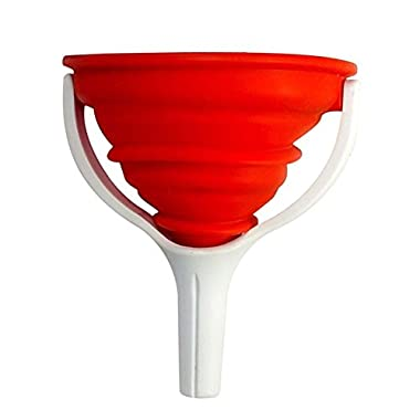 Silicone Funnel, Collapsible & Expandable - Dexas PopWare, 4  x 6 , Folds Flat. (Red)