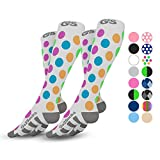 Go2Socks Compression Socks for Men Women Nurses Runners 20-30 mmHg Medical Stocking Athletic (2pPolkaDot, M)