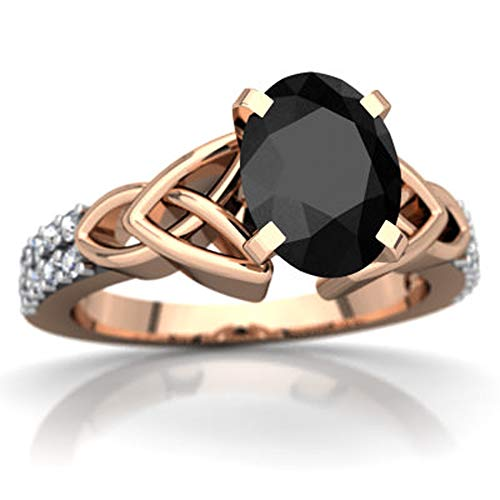Celtic Knot Valentine Day Engagement Ring 0.99 CTW Oval Cut White CZ Diamonds 14K Rose Gold Fn (9.5)