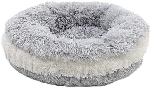La cama para perros es lavable a máquina, suave y suave, redondo, cálido, saco de dormir para mascotas, cama cueva, adecuada para gatos pequeños y grandes,Offwhite-80cm