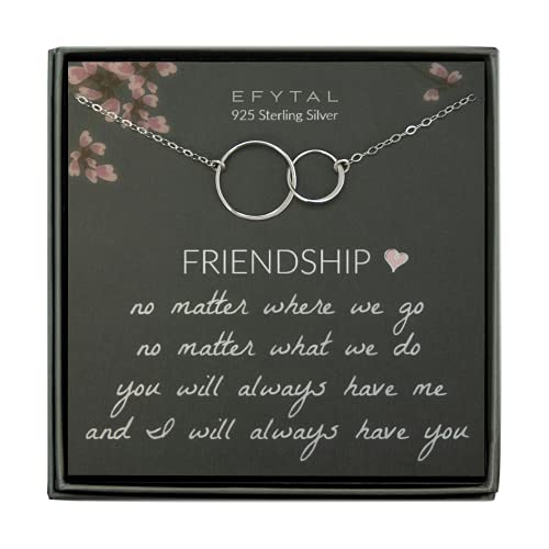 EFYTAL Best Friend Gifts Necklace, Sterling Silver Interlocking Circles, Bridesmaid Gift, Friendship Jewelry