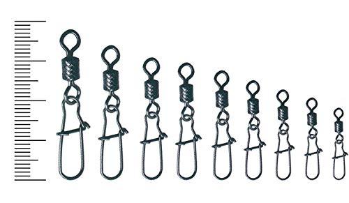 FANATIK Emerillones de Pesca con Mosquetón 1013 tamaño 10, 9, 8, 7, 6, 5, 4, 3, 2 Anillos con Conector Fishing Swivel with Duo-Lock Snap (Negro, 9+11mm / 8kg - #9-8 Piezas)